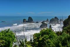 Las formaciones de roca y el paisaje escénico en Motukiekie varan en Nueva Zelanda Imagen de archivo