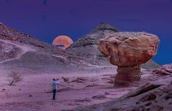 Las formaciones geológicas en naturaleza abandonan el valle del parque de Timna, Israel foto de archivo libre de regalías