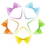 Las formas de corazones en diversa cinta de la pizca de los colores arquean aislado Foto de archivo libre de regalías