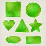 Las formas de la acuarela salpican el triángulo, círculo, corazón, elipse, rectángulo, cuadrado, protagonizan verde Elementos del Fotografía de archivo libre de regalías