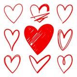 Las formas del corazón bosquejaron iconos del vector stock de ilustración