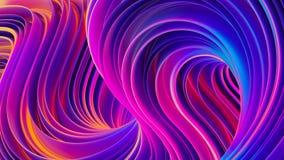 Las formas torcidas vibrantes en el movimiento 3D resumen el fondo ultravioleta líquido Imagen de archivo libre de regalías
