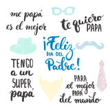 Las frases de la caligrafía de las letras del día de padre fijaron en español el diámetro del Padre, Tengo de Feliz una O.N.U est stock de ilustración