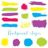 Las fronteras coloridas de la tinta, movimientos del cepillo, manchas, banderas, manchas blancas /negras, salpican Fotos de archivo