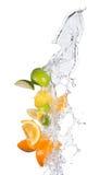 Las frutas cítricas con agua salpican en blanco Foto de archivo libre de regalías