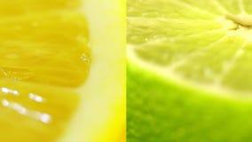 Las frutas cítricas se cierran para arriba Cal amarillo-naranja y verde jugosa hermosa Varios marcos en un vídeo Collage de los a almacen de video