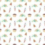 Las frutas del modelo de la acuarela y el helado, apelmazan diseño inconsútil en el fondo blanco libre illustration