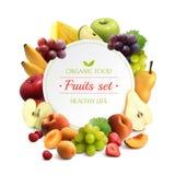 Las frutas enmarcan el fondo realista stock de ilustración