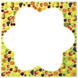 Las frutas enmarcan hecho con diversas frutas, comp sanos del tema de la comida Imágenes de archivo libres de regalías