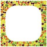 Las frutas enmarcan hecho con diversas frutas, comp sanos del tema de la comida Fotos de archivo