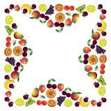 Las frutas enmarcan hecho con diversas frutas, comp sanos del tema de la comida Imagenes de archivo