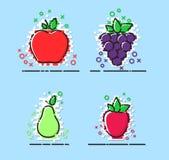 Las frutas vector el sistema con MBE diseñado, iconos planos, vector Fotografía de archivo
