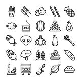 Las frutas, las verduras y los bocados embalan stock de ilustración