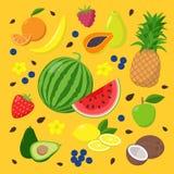 Las frutas y las bayas del verano fijaron de los ejemplos del vector aislados en fondo amarillo en dise?o plano Concepto del vera libre illustration