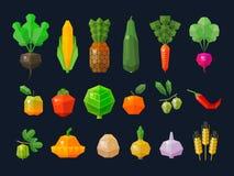 Las frutas y verduras frescas fijadas colorearon iconos Fotos de archivo