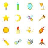 Las fuentes de iconos de la luz fijaron, estilo de la historieta stock de ilustración