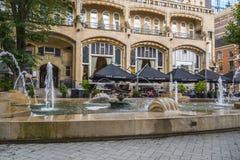 Las fuentes delante del hotel americano Amsterdam en el cuadrado de Leidse - AMSTERDAM - LOS PAÍSES BAJOS - 20 de julio de 2017 Imágenes de archivo libres de regalías