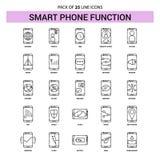 Las funciones elegantes del teléfono alinean el sistema del icono - estilo rayado del esquema 25 stock de ilustración