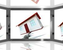 Las fundaciones agrietadas de la casa en la pantalla que muestra daño del edificio Imagenes de archivo