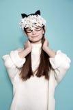 Las gafas de sol de la máscara de la mujer de la moda diseñan el retrato decorativo Imágenes de archivo libres de regalías