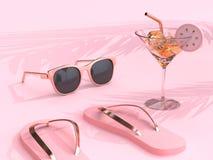 las gafas de sol de los deslizadores de la escena del rosa del extracto del concepto del verano de la representación 3d beben el  libre illustration