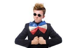 Las gafas de sol que llevan del hombre divertido aisladas en blanco imagen de archivo libre de regalías