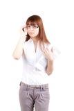Las gafas que desgastan de la muchacha hermosa con documen Imagen de archivo libre de regalías