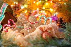Las galletas de harina de avena del jengibre para la Navidad parecen una familia feliz que celebra un día de fiesta de la semilla Imagen de archivo