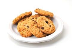Las galletas de harina de avena en la placa aislaron Imagen de archivo