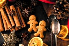 Las galletas del pan de jengibre de la Navidad adornaron la formación de hielo coloreada para el día de año nuevo, fiesta de Navi imágenes de archivo libres de regalías