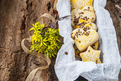 Las galletas del postre con las semillas de sésamo en un fondo de la primavera florecen Imagen de archivo