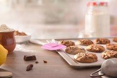 Las galletas hechas en casa con los microprocesadores de chocolate cocieron recientemente vista delantera foto de archivo libre de regalías