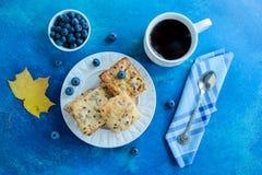 Las galletas hechas en casa del desayuno del vegano de las semillas de girasol de la avena con otoño hojean Copie el espacio fotografía de archivo