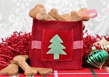 Las galletas hechas en casa del perro en una Navidad decorativa empaquetan. Imagen de archivo libre de regalías