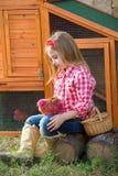 Las gallinas del criador embroman al granjero del ranchero de la muchacha con los polluelos en gallinero de pollo foto de archivo libre de regalías