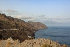 Las Gaviotas cliffs of the Anaga mountains partly covered by clouds. Santa Cruz de Tenerife, Canary Islands stock images