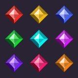 Las gemas del vector de la historieta y los iconos de los diamantes fijaron en diversos colores con diversas formas Imagen de archivo libre de regalías