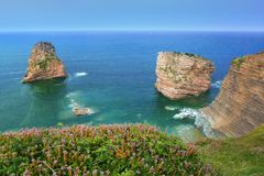 Las Gemelas rocks in Hendaia. In France royalty free stock photo