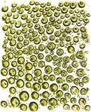 Las gotitas de agua verdes realistas aisladas en el fondo blanco Vector el ejemplo Foto de archivo