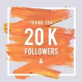 Las gracias del vector diseñan la plantilla para los amigos y los seguidores de la red Gracias tarjeta de los seguidores 20K Imag Imagenes de archivo