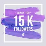 Las gracias del vector diseñan la plantilla para los amigos y los seguidores de la red Gracias tarjeta de los seguidores 15K Imag Foto de archivo libre de regalías