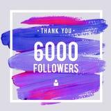 Las gracias del vector diseñan la plantilla para los amigos y los seguidores de la red Gracias tarjeta de 6 seguidores de K Image Fotos de archivo