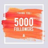 Las gracias del vector diseñan la plantilla para los amigos y los seguidores de la red Gracias tarjeta de 5 seguidores de K Image Foto de archivo