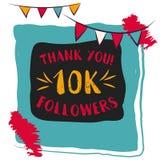 Las gracias usted carda 10000 seguidores para los amigos de la red Imagen de archivo