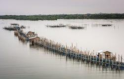 Las granjas de pescados, jaulas de los pescados en el estuario Laem cantan foto de archivo libre de regalías