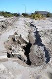 Las grietas enormes aparecen en el terremoto de Christchurch Fotografía de archivo libre de regalías