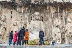 Las grutas de Longmen o el Longmen excava, destinatio turístico famoso imagen de archivo libre de regalías