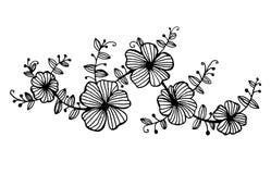 Las guirnaldas de la ramita de flores con las hojas modelan el ejemplo gráfico ilustración del vector
