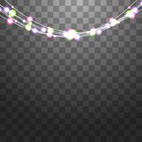 Las guirnaldas festivas fijaron de decoraciones con las luces brillantes multicoloras, el brillar chispeante Vector de las bombil stock de ilustración