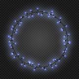 Las guirnaldas ligeras realistas de la Navidad y del Año Nuevo les gusta el marco en un fondo transparente, vector ilustración del vector